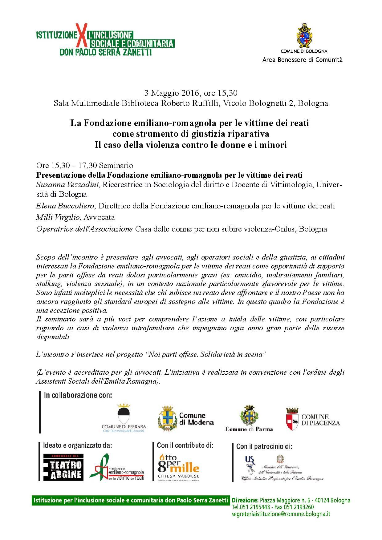 La Fondazione emiliano-romagnola per le vittime dei reati come strumento di giustizia riparativa Il caso della violenza contro le donne e i minori