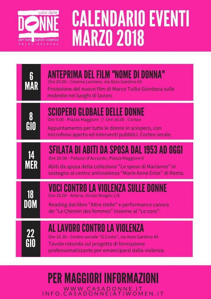 Calendario marzo casa donne